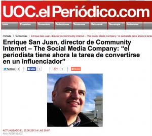 enrique san juan entrevistado por el periodico uoc
